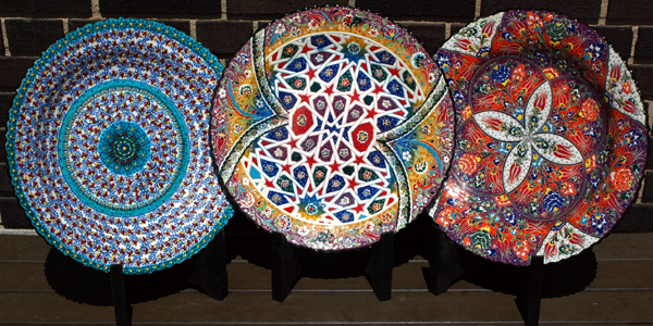 Made in the Turkish city of Kutahya these 16 Inch hand painted ceramic plates are food-safe for serving finger food items. Due to their ceramic nature ... & 16 Inch Hand Painted Ceramic Plates |